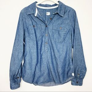 TOMS Polka Dot Chambray 1/2 Button Down Shirt